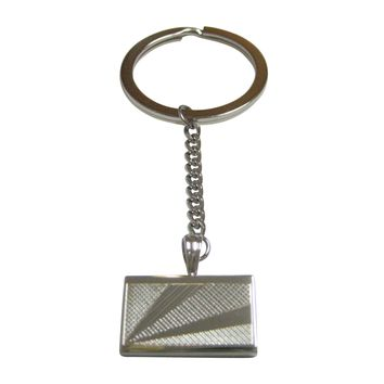 Silver Toned Etched Seychelles Flag Pendant Keychain
