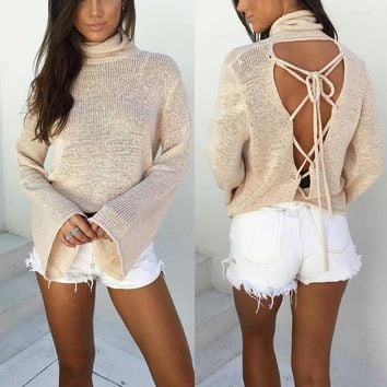 2017 Women's Thin Backless Turtleneck Sweater virgin killer Sweater Long Sleeve Knit Tank Top Pullover