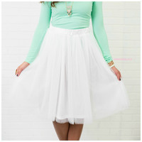 Blissful Thinking White Knee Length Tulle Skirt