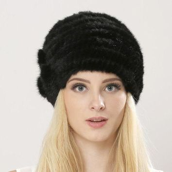 CREYCI7 Free Shipping Women's Knitted Mink Fur Hat Hand Woven Winter Fur Cap Floral Mink Fur Hat For Lady Hat Real Fur