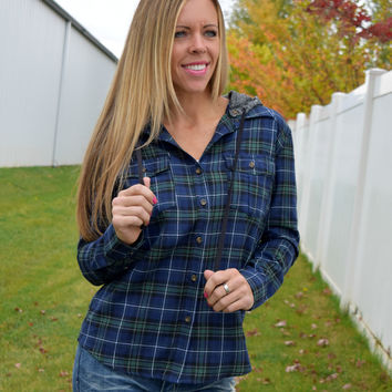 Bree Plaid Shirt with Detachable Hood - Navy/Green