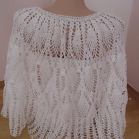 SNOW WHITE shawl shrug lace shawl Bridal Shawl lace bridal shawl silvery rope woven shawl/wrap capelet in white