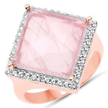 LoveHuang 4.90 Carats Genuine Rose Quartz and White Topaz Square Ring Solid .925 Sterling Silver With 18KT Rose Gold Plating