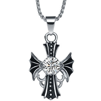 Stainless Steel Cubic Zirconia Centered Cross Pendant Necklace