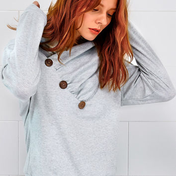 Cupshe Back For Good Button Sweatshirt