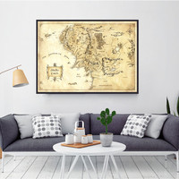 Lord Of The Rings, Middle Earth Map, The Hobbit, Home Decor, Lord Of The Rings Map, Of The Rings Poster, Framed Art, Canvas Art, Canvas