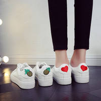 free shipping 2017 spring new fashion women shoes flats casual sport breathable PU heart pineapple shoes women casual shoes