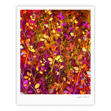 "Ebi Emporium ""Amongst the Flowers - Warm Sunset"" Pink Orange Fine Art Gallery Print"