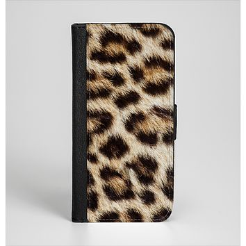 The Leopard Furry Animal Hide Ink-Fuzed Leather Folding Wallet Case for the iPhone 6/6s, 6/6s Plus, 5/5s and 5c