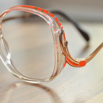 Vintage Orange an Clear Art Craft Oversized Drop Arm Eyeglasses Frame Israel 53/15