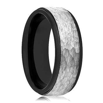 Aydins Tungsten Ring Two-tone Black & Grey Hammered Center Stepped Edge Wedding Band 6mm, 8mm Tungsten Carbide Wedding Ring
