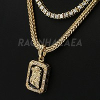 Hip Hop Iced Out DARK JESUS FACE Exclusive Pendant W/ Franco & Tennis Choker Chain Set