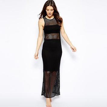 Mesh Sleeveless A-Line Maxi Dress
