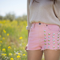 High Wasted Denim Studded Shorts by LoveandVintageDenim on Etsy