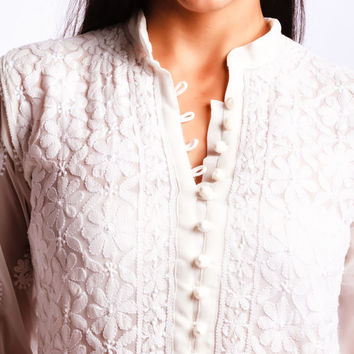 white tunic buttoned up shirt women Embroidered chikan kurti Chiffon Georgette Boho chic