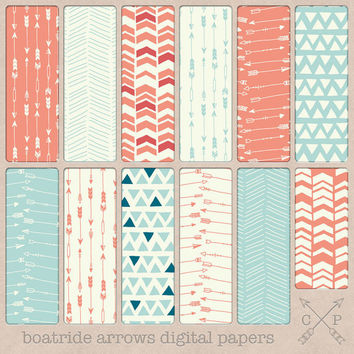 hand drawn tribal digital paper pack patterns arrows chevron triangles teal blue coral pink. digital cardstock graphic design backgrounds