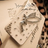 niceeshop(TM) Silver Angel Bling Diamond Luxury crystal Rhinestone Hard Cover Case for iPhone 4 4S +Screen Protector