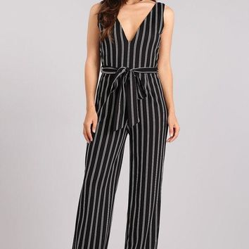 Sleeveless Wide Leg Pinstripe Jumpsuit - Black/Ivory