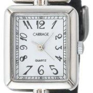 Carriage Womens C2A901 SilverTone Rectangular Case Black Leather Strap Watch