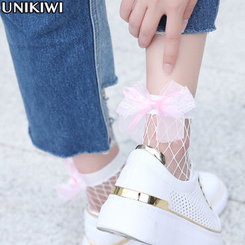 2 Color.Chic Women's Harajuku White Breathable Mesh Bow knot Fishnet Socks.Sexy Hollow out Mesh Nets Socks Ladies Girl's Bow Sox