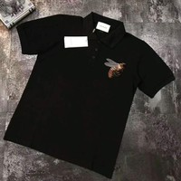 GUCCI Fashion Polo Neck black bee embroidering short sleeve top H-A-XYCL
