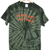 Make Art, Not War Green Tie-Dye Graphic Unisex Tee