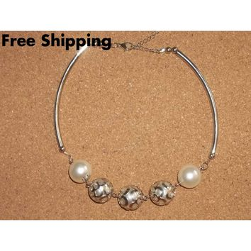"Large Pearl & Tube Bead Silver Plated Wedding Prom Formal Statement Necklace  18-20""Adjustable"