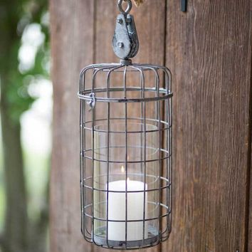 Large Hanging Candle Cage with Pulley