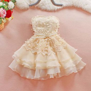 Streetstyle  Casual Apricot Patchwork Hollow-out Pearl Tiered Bandeau Belt Mini Dress