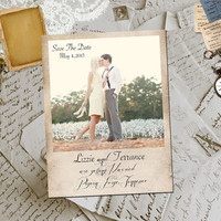 "50 Wedding Save The Date Magnets - PigeonForge Vintage Photo Personalized 4.25""x5.5"""