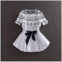 Lace Flower Hollow Perspective Bow Tie Waist Lotus Leaf Swing Lace Shirt