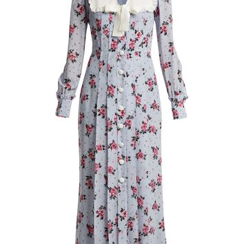 Rose-print frill-trimmed silk dress | Alessandra Rich | MATCHESFASHION.COM UK