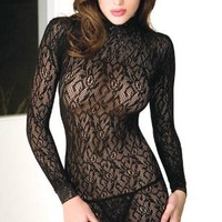 Tease Womens Sexy Lace Turtle Neck Long Sleeved Mini Dress
