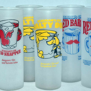 Vintage Barware-Federal Glass Co.-Tom Collins-Zombie-Seagrams Gin-Tumblers