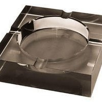 Quality Importers Ashtray 4 Cigar Crystal Ashtray, Opaque Black