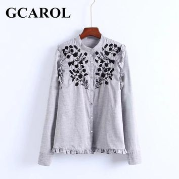 GCAROL New Arrival Embroidered Black Floral Women Blouse Stand Collar Ruffles OL Shirt Elegant Vintage Female Tops For 4 Season
