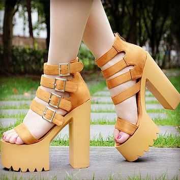 Straps Buckle Open Toe Chunky Heel Platform Super High Heel Sandals