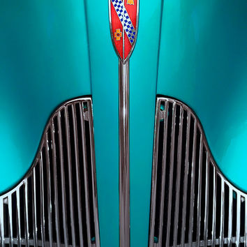 Photo, old car, Buick, turquoise blue teal azure, antique restored classic vintage auto, chrome grill, red badge, fine art photography print