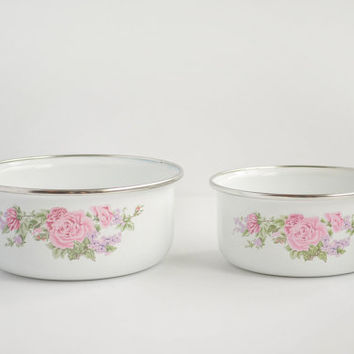 Vintage White Enamel Bowls with Floral Design - Shabby Chic