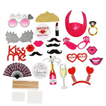 22Pcs Bachelorette Photo Booth Props Girls Night Out Hen Party Mustache DIY Kits Single Party Wedding Bridal Shower Favors Gift