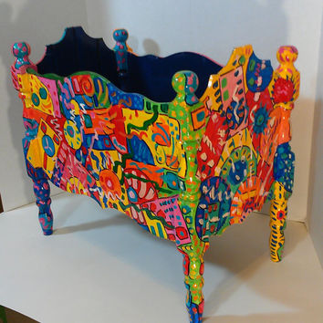 Abstract OOAK vintage planter/Halloween Candy Box/Cat bed