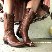 60s 70s Tony Lama Rodeo Cowboy Cowgirl Boots - Black Star Label - Ladies Two Tone Cognac Leather - Western Desert Saloon 8