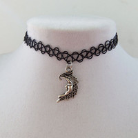 Pretty Filigree Moon charm choker tattoo henna necklace