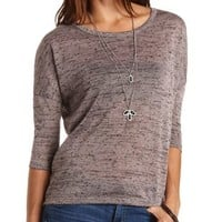 Marled Zipper-Back High-Low Top by Charlotte Russe