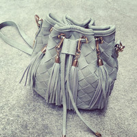 Gray Elegant Weave Drawstring Tassel Bucket Bag