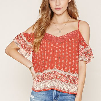Tribal Print Open-Shoulder Top