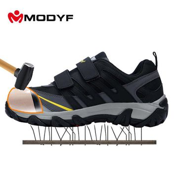 Modyf Men's Steel Toe Cap work Safety shoes outdoor welding job boots magic tape puncture proof footwear fashion safety shoes