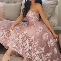 Princess A-Line Sweetheart Blush Homecoming Dress with Lace Appliques OKC36