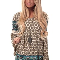 Taupe Peasant Blouse with V-Shape Scoop Back