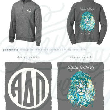 99993 ADPi Watercolor Lion Heather Grey Sport-Tek Quarter Zip